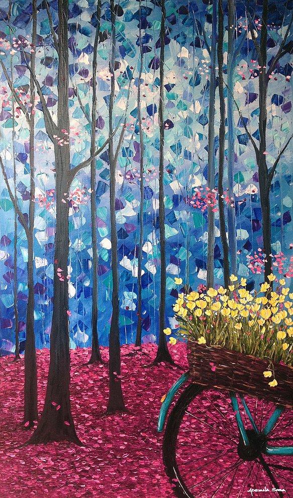 Una simple noche de otoño Oleo sobre tela Técnica espátula 70 x 120 cm