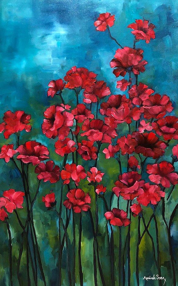Rojo Rubí Oleo sobre tela 80 x 50 cm