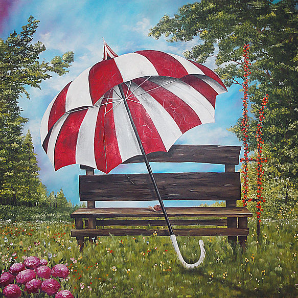 Sombrilla Óleo sobre tela 100 x 100 cm