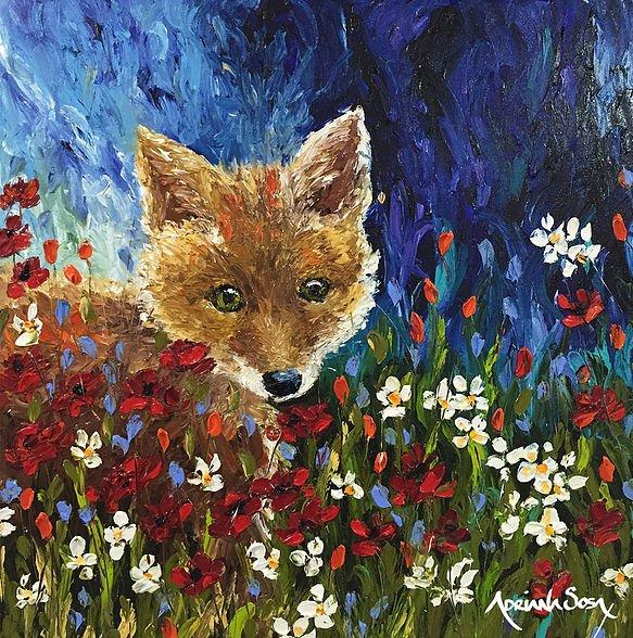 Alguien nos Observa Oleo sobre tela / Arte digital / pintado con los dedos. 50 x 50 cm
