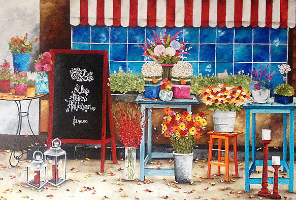 La Florería de Maly Oleo sobre tela Técnica espátula 165 x 110 cm
