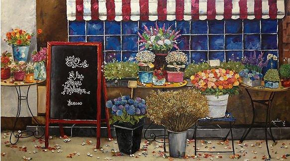 Si las flores hablaran Oleo sobre tela Técnica espátula 70 x 120 cm