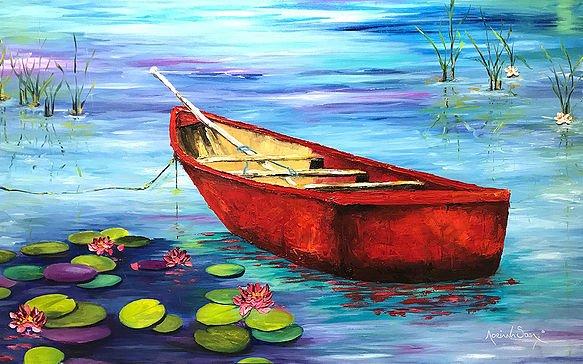 El estanque Oleo sobre tela. Técnica mixta 80 x 50 cm