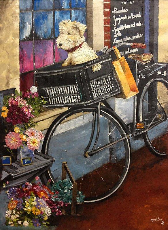 Lo que vio el perro en el callejón de las flores Oleo sobre tela Técnica espátula 60 x 90 cm