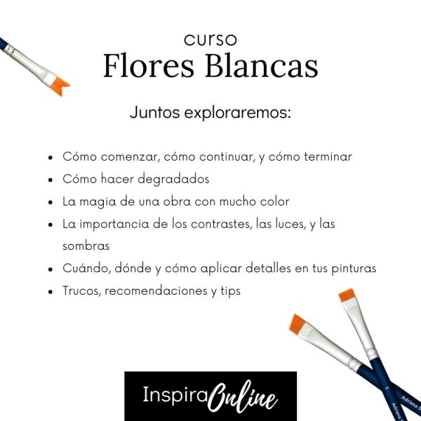 Inspira Online - Clases de pintura en linea - cursos de pintura al óleo - Flores Blancas