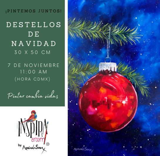 Clases de pintura en linea evento gratuito Facebook Live Adriana Sosa Pintura al Oleo Destellos de navidad